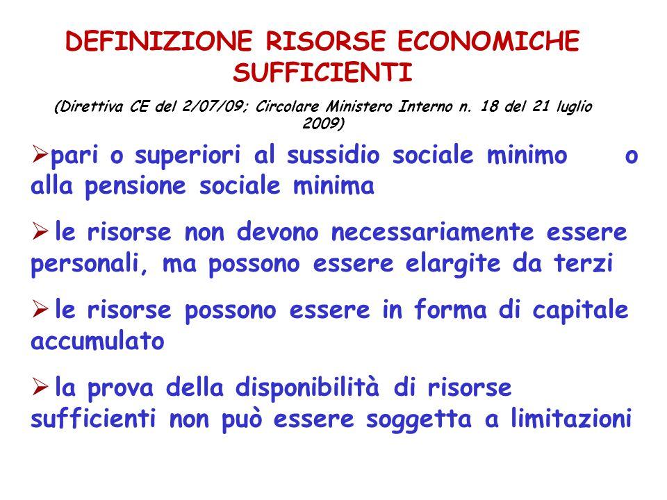 DEFINIZIONE RISORSE ECONOMICHE SUFFICIENTI