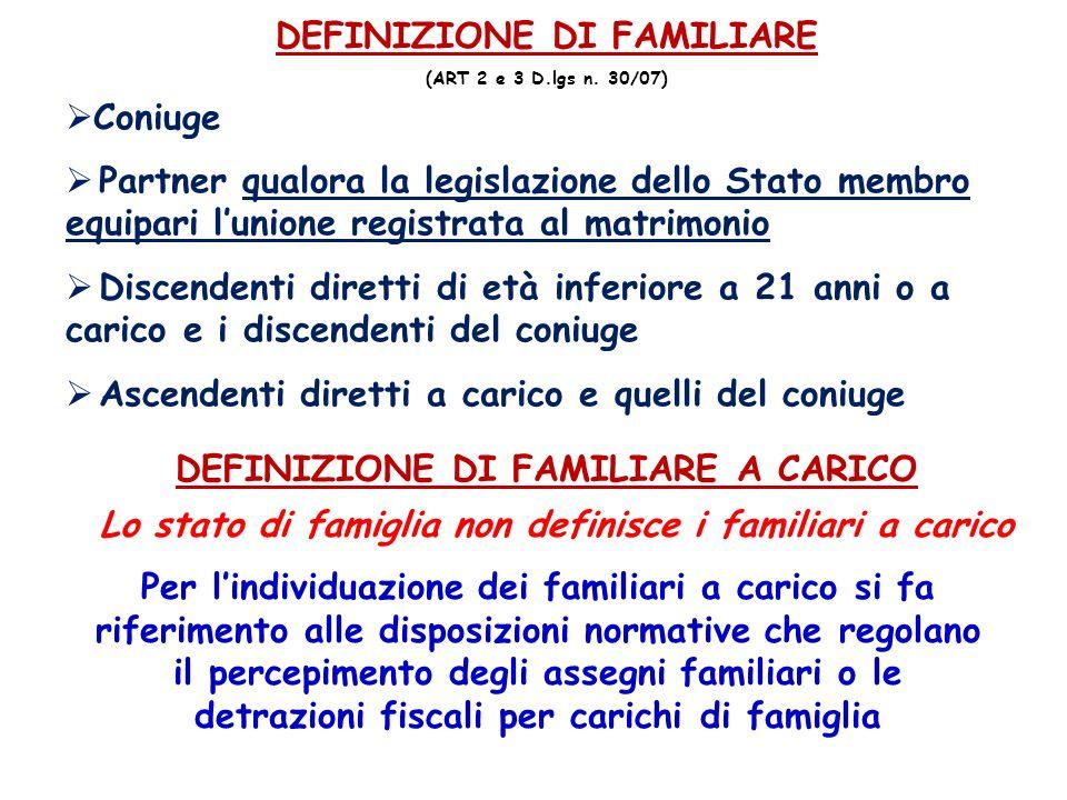 DEFINIZIONE DI FAMILIARE DEFINIZIONE DI FAMILIARE A CARICO