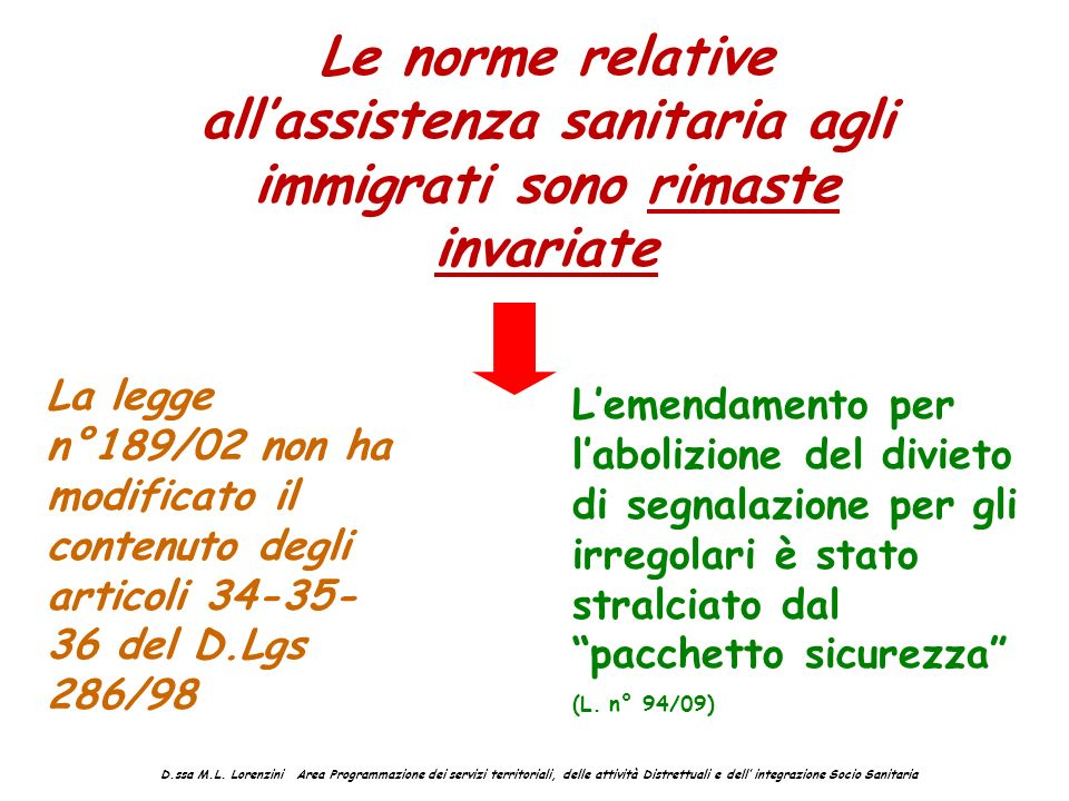 Le norme relative all'assistenza sanitaria agli immigrati sono rimaste invariate