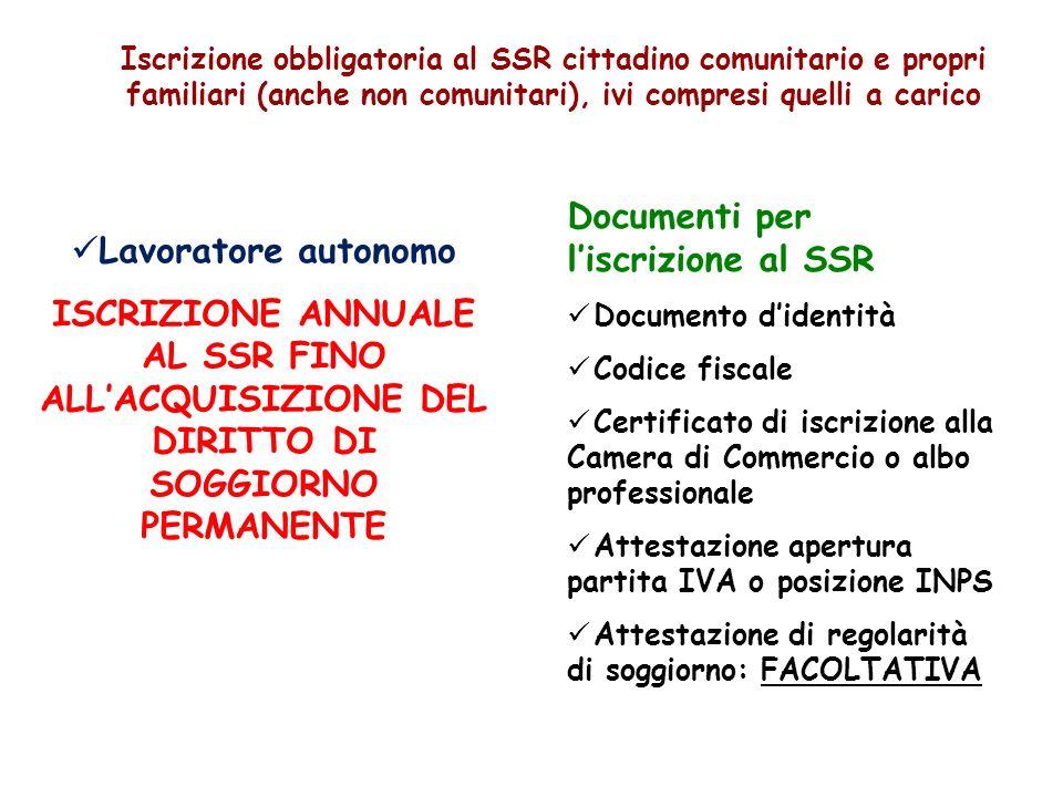 Documenti per l'iscrizione al SSR Lavoratore autonomo