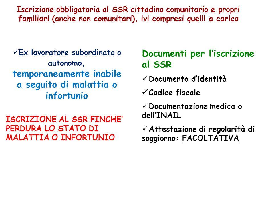 Documenti per l'iscrizione al SSR