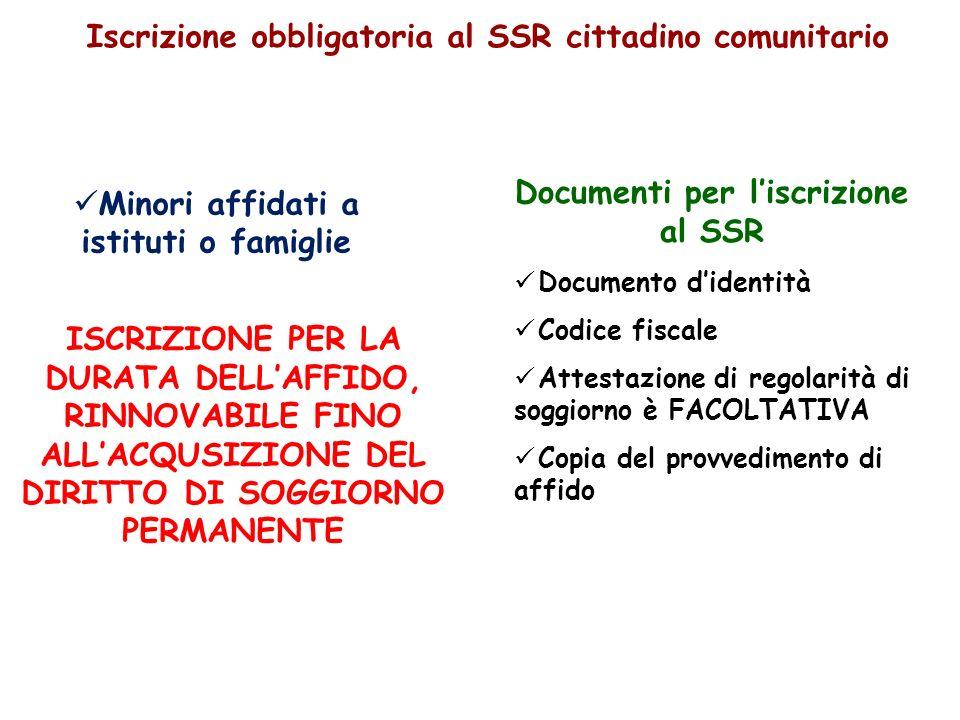 Iscrizione obbligatoria al SSR cittadino comunitario