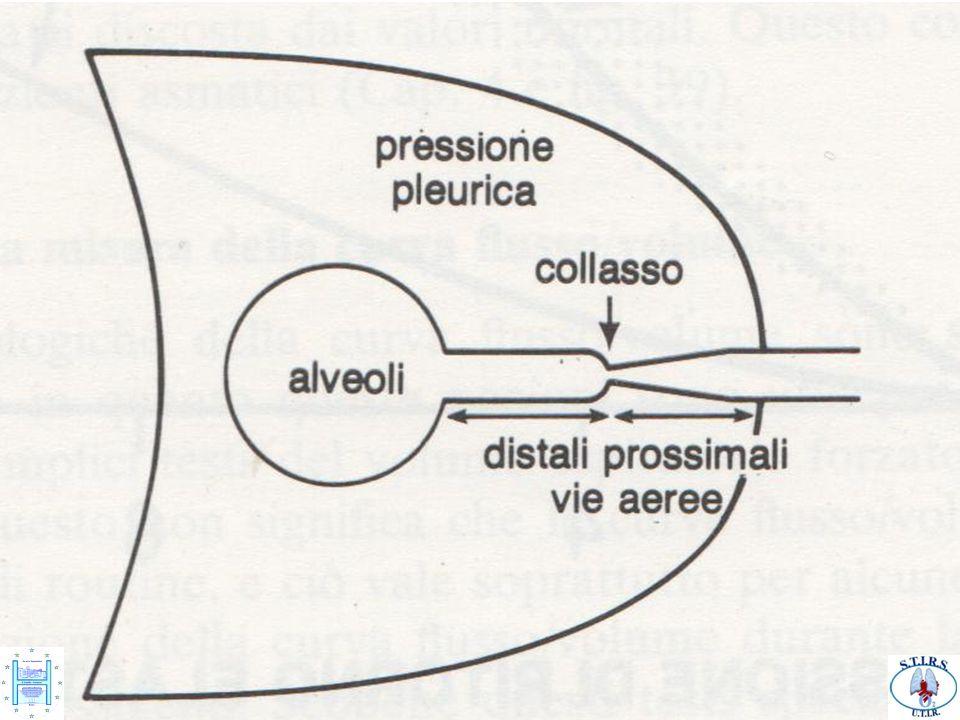 In particolare il precoce collabimento delle vie aeree distali (distalizzazione dell'Equal Pressure Point –EPP- punto di isopressione) è dovuto alla limitazione del flusso espiratorio a sua volta dovuto all'ispessimento della parete delle piccole vie aeree.