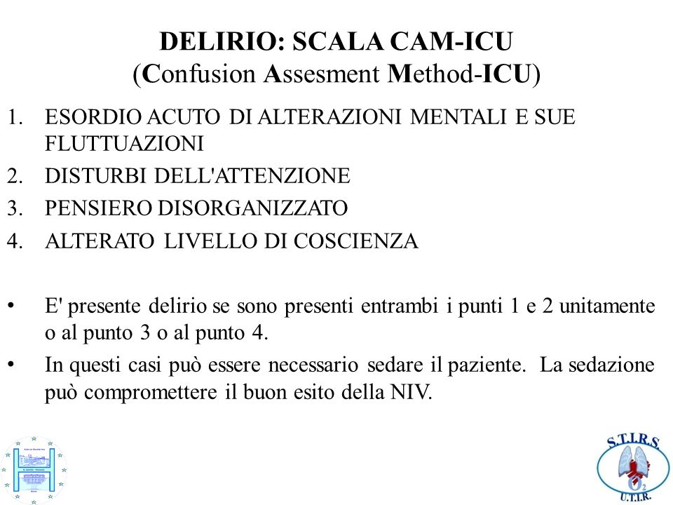 DELIRIO: SCALA CAM-ICU (Confusion Assesment Method-ICU)