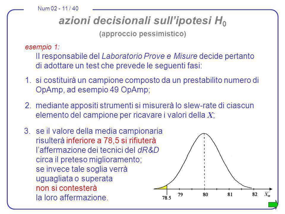 azioni decisionali sull'ipotesi H0 (approccio pessimistico)