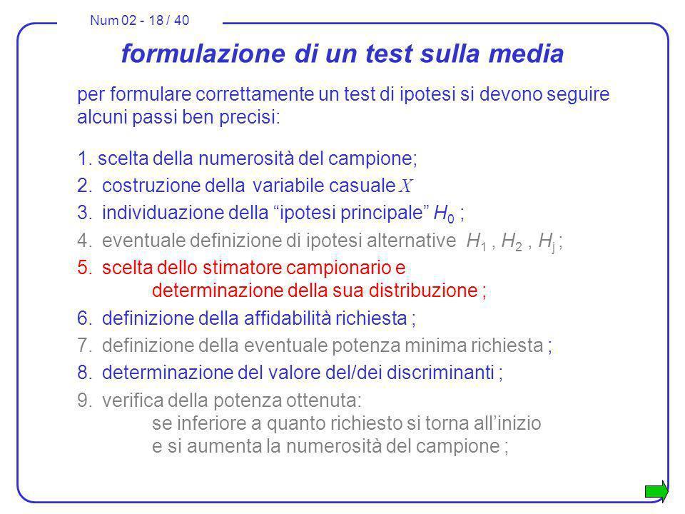 formulazione di un test sulla media