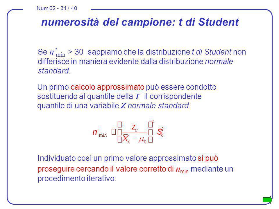 numerosità del campione: t di Student