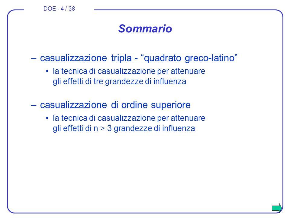 Sommario casualizzazione tripla - quadrato greco-latino