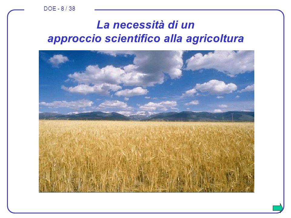 La necessità di un approccio scientifico alla agricoltura