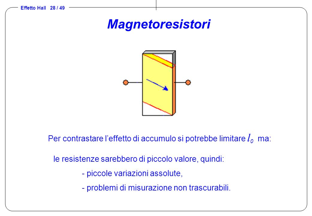 Magnetoresistori Per contrastare l'effetto di accumulo si potrebbe limitare l0 ma: le resistenze sarebbero di piccolo valore, quindi:
