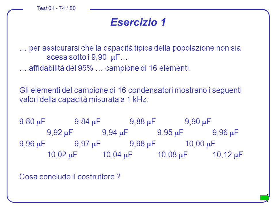 Esercizio 1 … per assicurarsi che la capacità tipica della popolazione non sia scesa sotto i 9,90 mF…