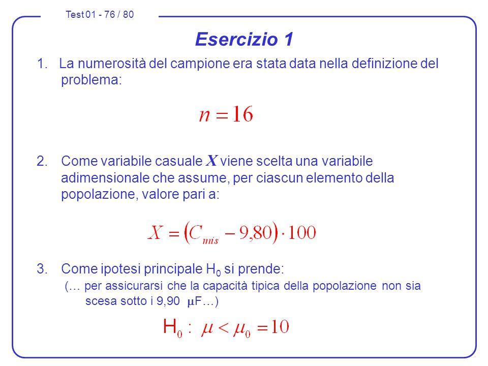 Esercizio 1 1. La numerosità del campione era stata data nella definizione del problema: