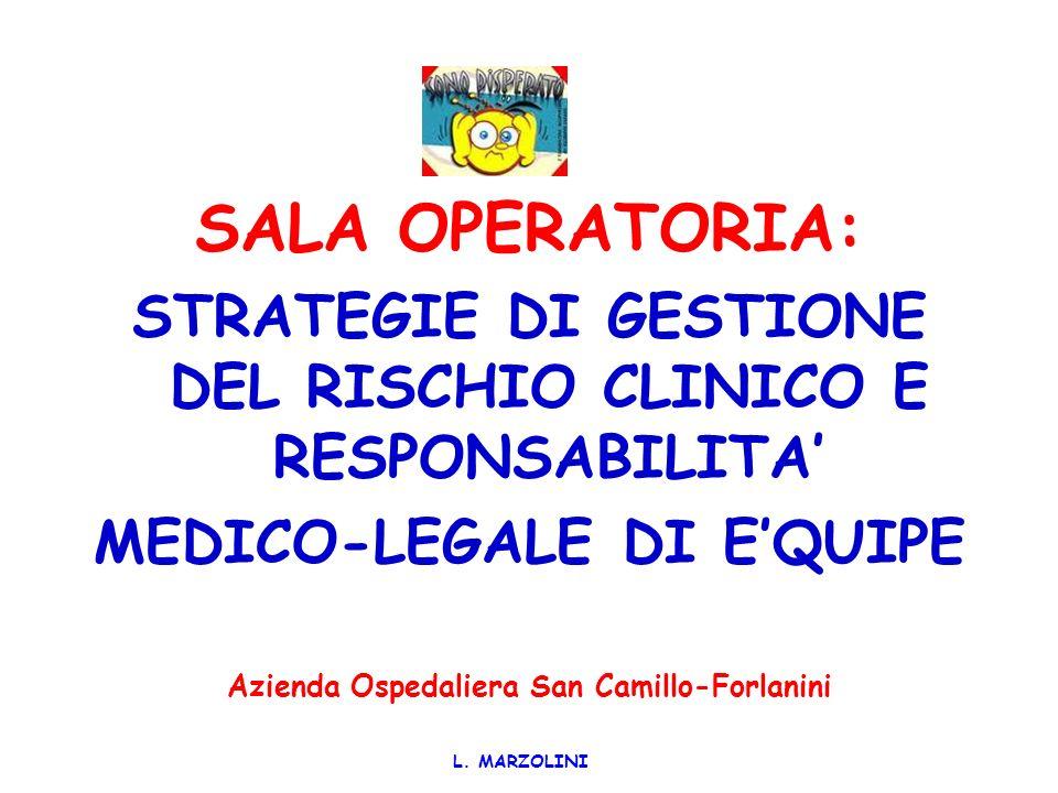 SALA OPERATORIA: STRATEGIE DI GESTIONE DEL RISCHIO CLINICO E RESPONSABILITA' MEDICO-LEGALE DI E'QUIPE.