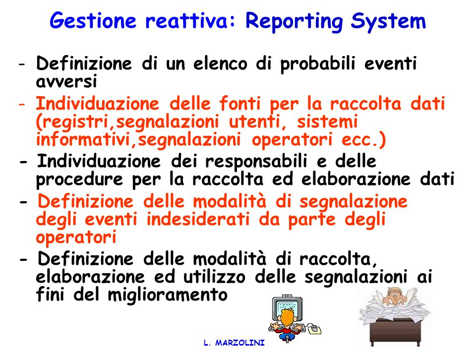 Gestione reattiva: Reporting System
