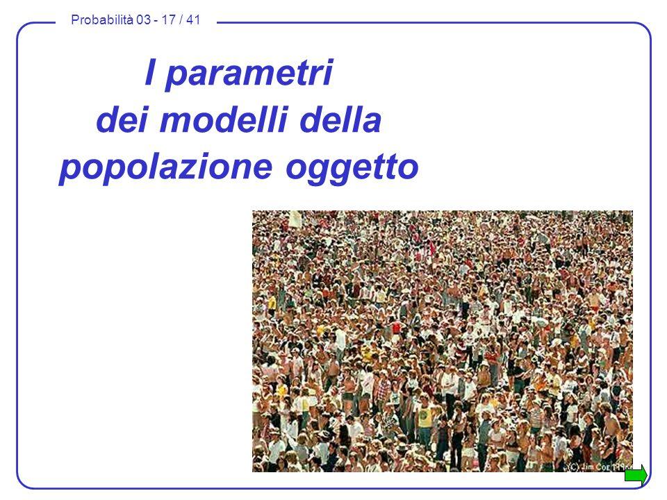 I parametri dei modelli della popolazione oggetto
