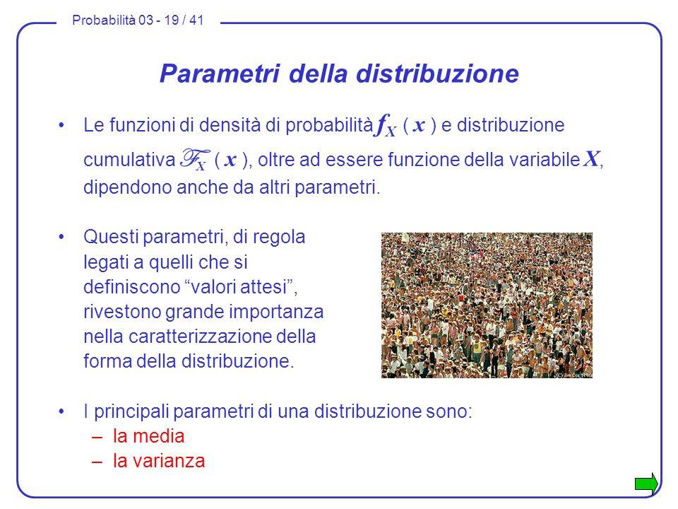 Parametri della distribuzione
