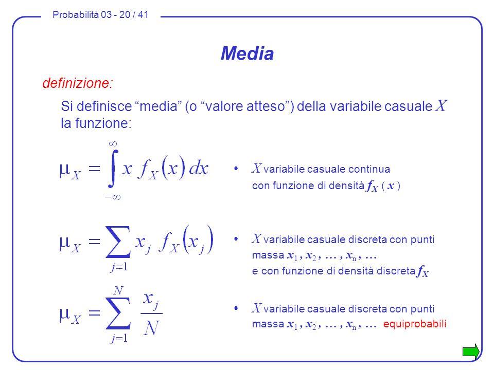 Media definizione: Si definisce media (o valore atteso ) della variabile casuale X la funzione: