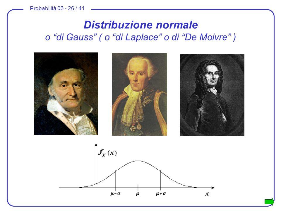 Distribuzione normale o di Gauss ( o di Laplace o di De Moivre )