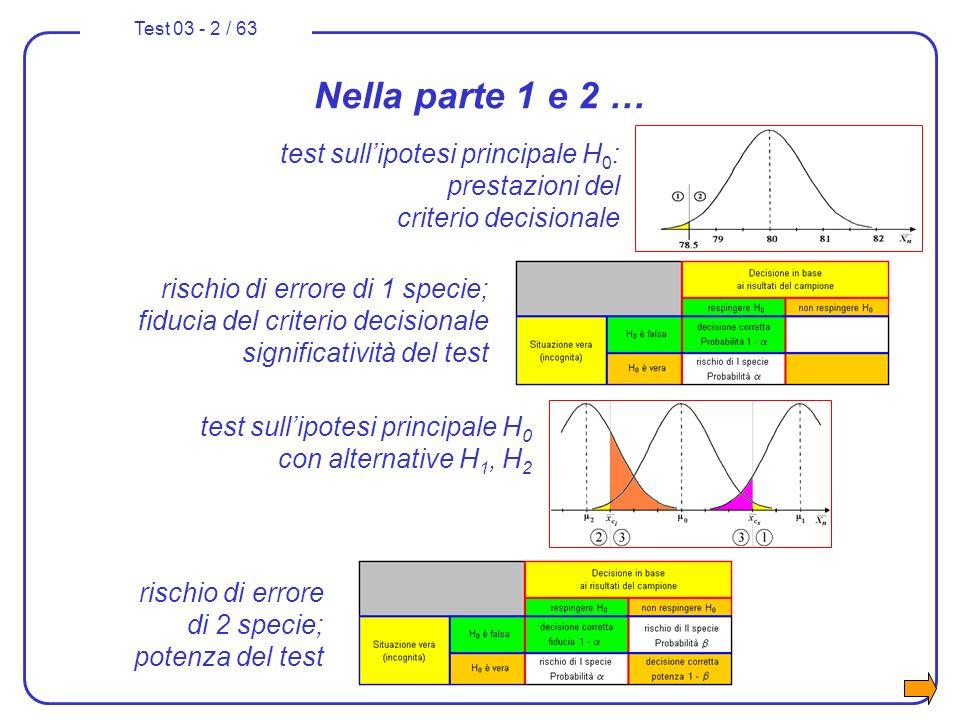 Nella parte 1 e 2 … test sull'ipotesi principale H0: prestazioni del criterio decisionale.