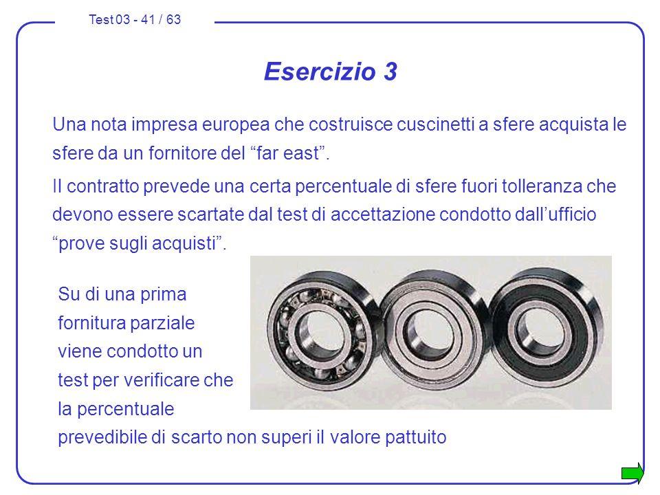 Esercizio 3Una nota impresa europea che costruisce cuscinetti a sfere acquista le sfere da un fornitore del far east .