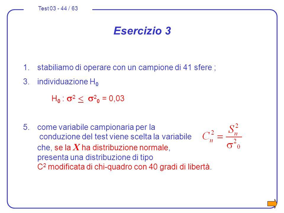Esercizio 3 stabiliamo di operare con un campione di 41 sfere ;