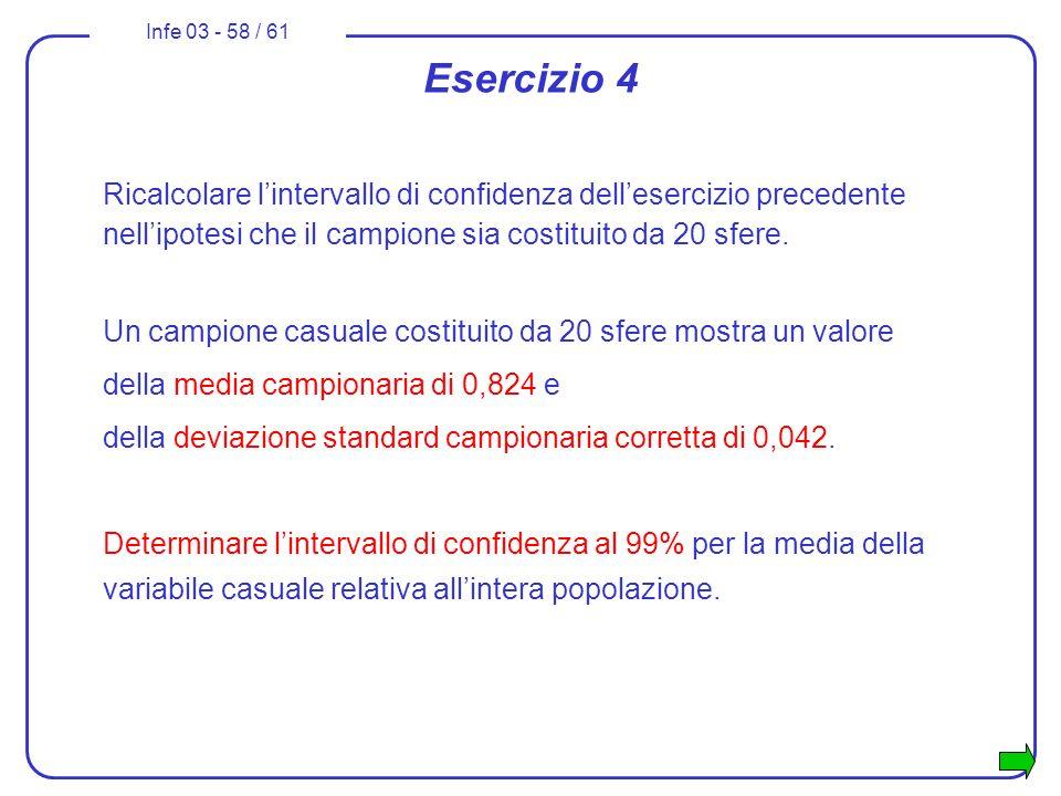 Esercizio 4 Ricalcolare l'intervallo di confidenza dell'esercizio precedente nell'ipotesi che il campione sia costituito da 20 sfere.
