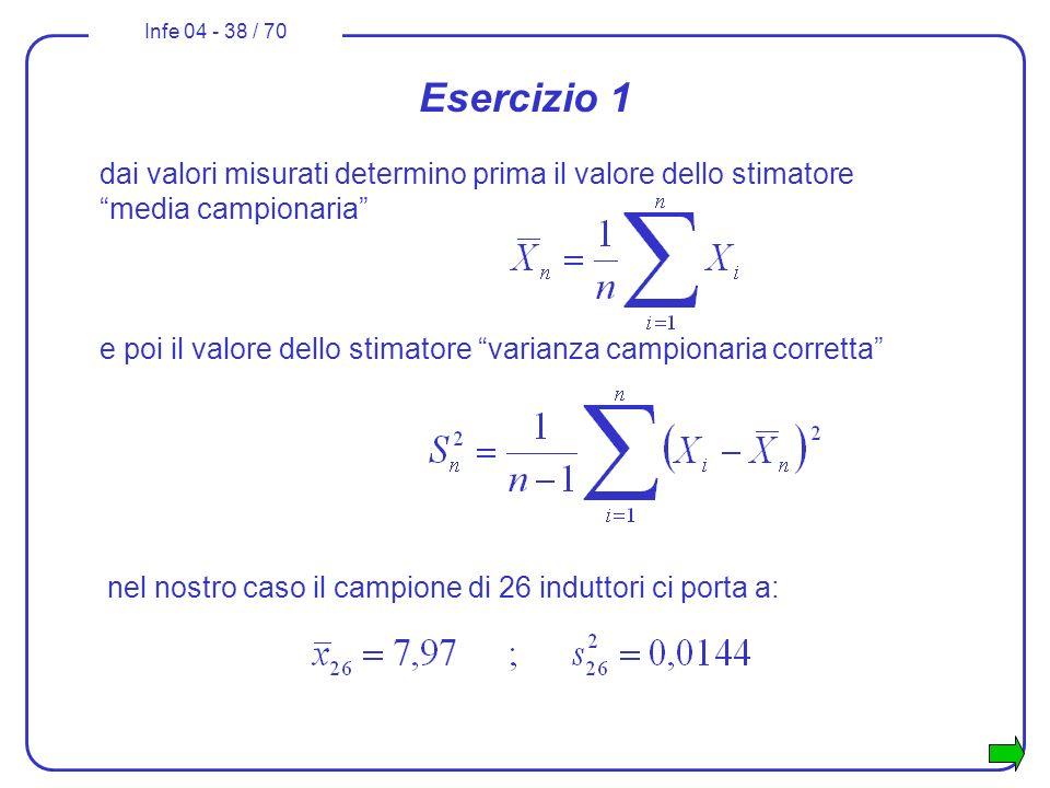 Esercizio 1 dai valori misurati determino prima il valore dello stimatore media campionaria