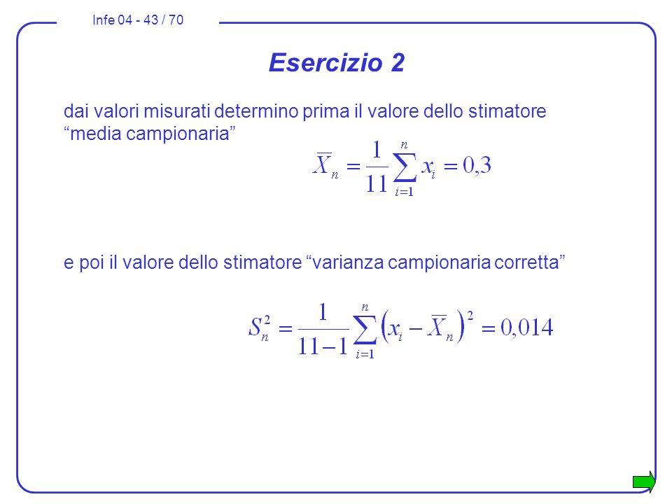 Esercizio 2 dai valori misurati determino prima il valore dello stimatore media campionaria