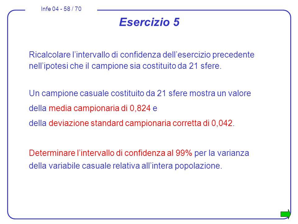 Esercizio 5 Ricalcolare l'intervallo di confidenza dell'esercizio precedente nell'ipotesi che il campione sia costituito da 21 sfere.