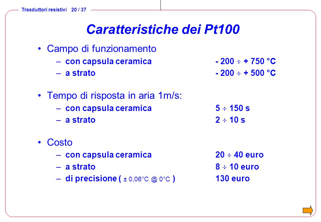 Caratteristiche dei Pt100