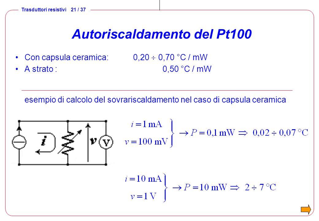 Autoriscaldamento del Pt100