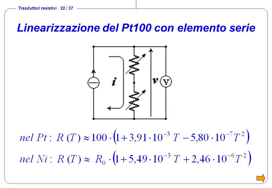 Linearizzazione del Pt100 con elemento serie