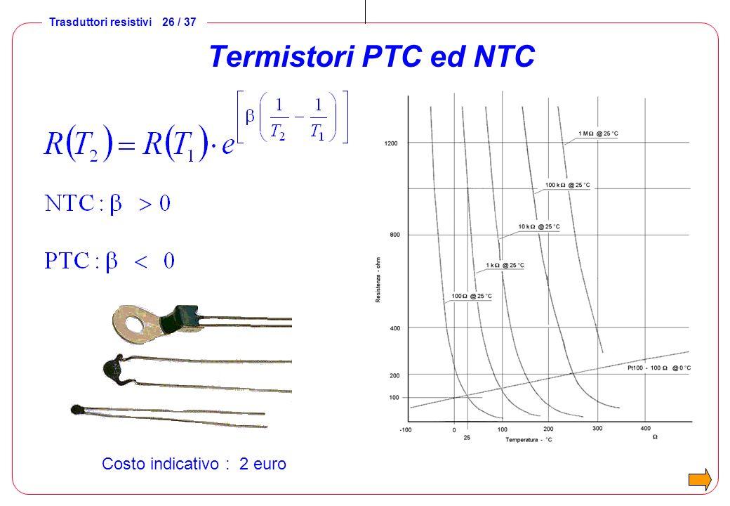 Termistori PTC ed NTC Costo indicativo : 2 euro