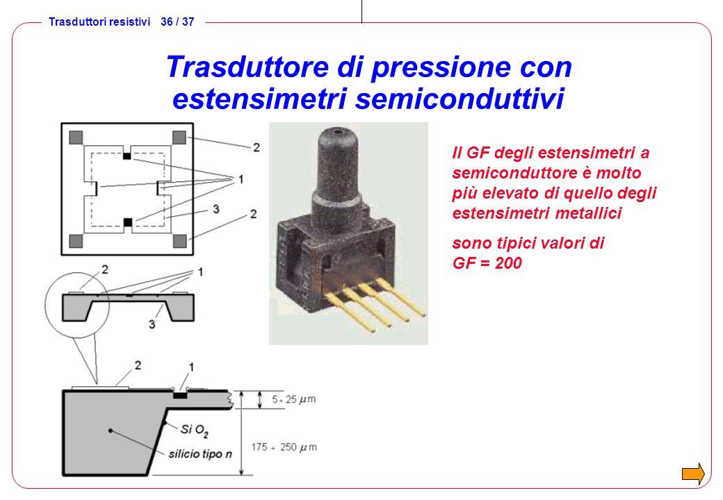 Trasduttore di pressione con estensimetri semiconduttivi