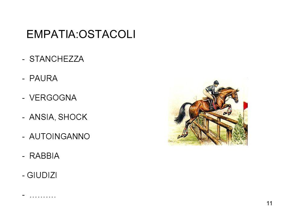 EMPATIA:OSTACOLI - STANCHEZZA - PAURA - VERGOGNA - ANSIA, SHOCK