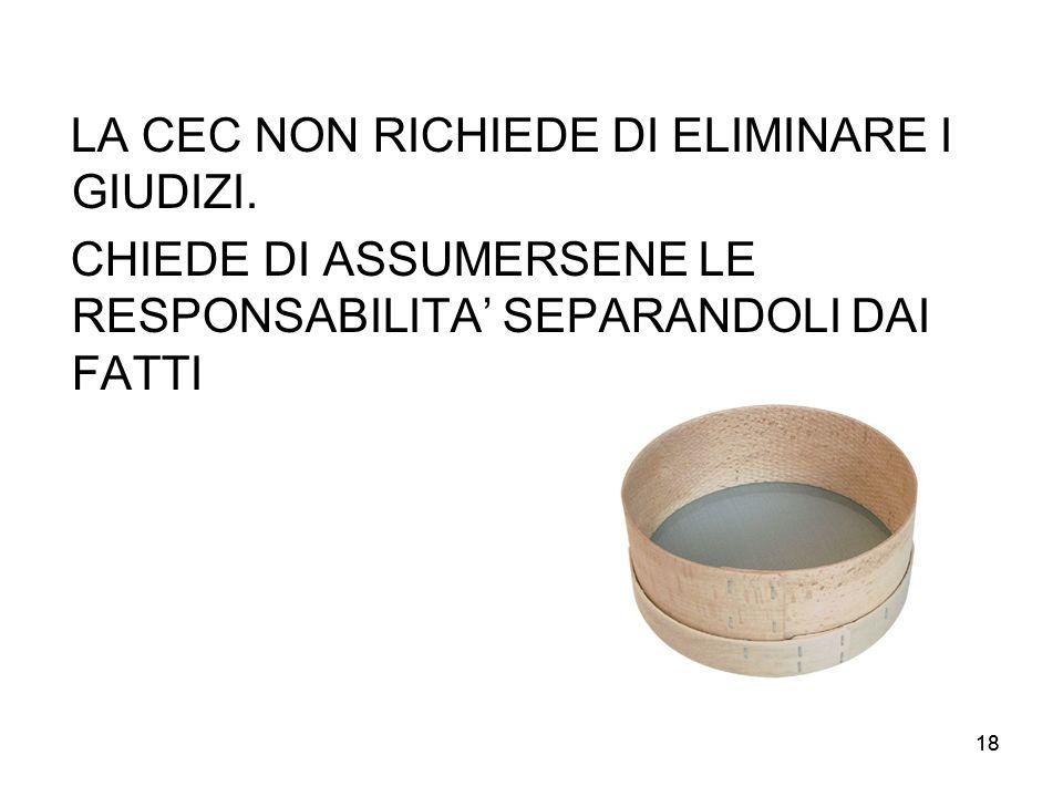 LA CEC NON RICHIEDE DI ELIMINARE I GIUDIZI.