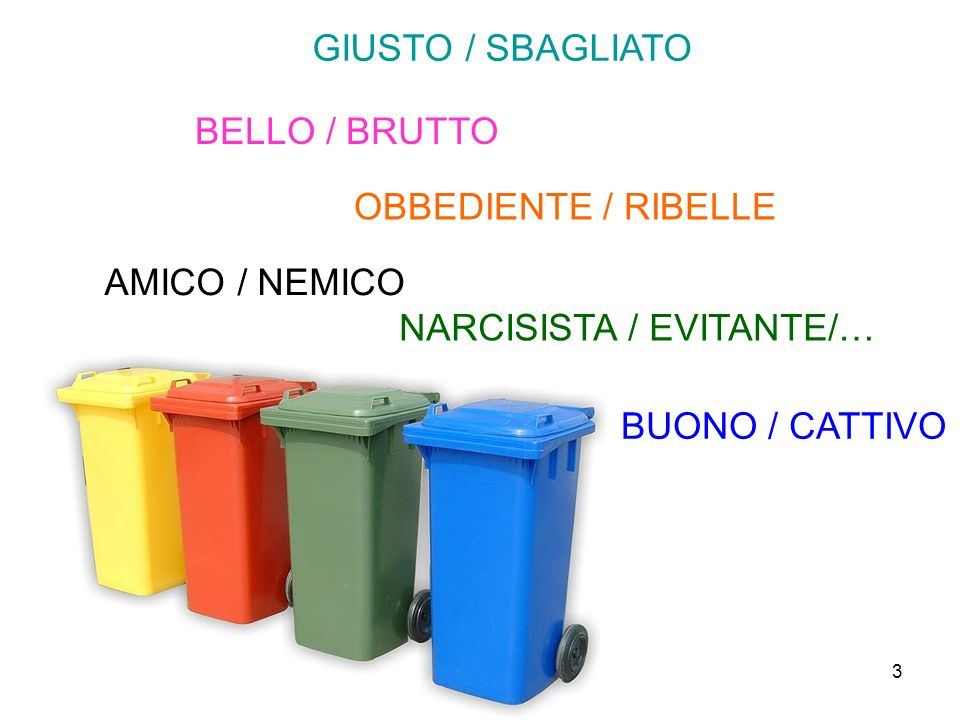 GIUSTO / SBAGLIATO BELLO / BRUTTO. OBBEDIENTE / RIBELLE. AMICO / NEMICO. NARCISISTA / EVITANTE/…