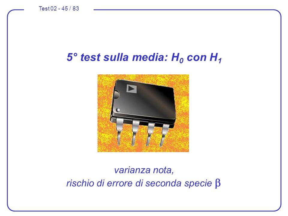 5° test sulla media: H0 con H1