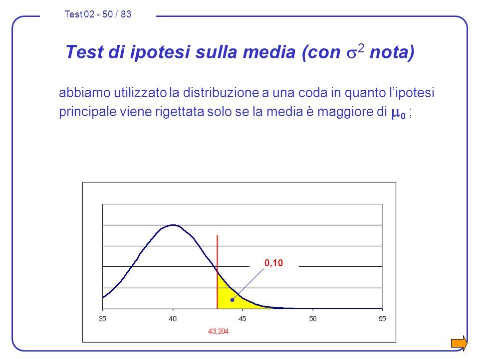 Test di ipotesi sulla media (con s2 nota)