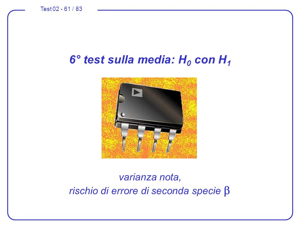 6° test sulla media: H0 con H1