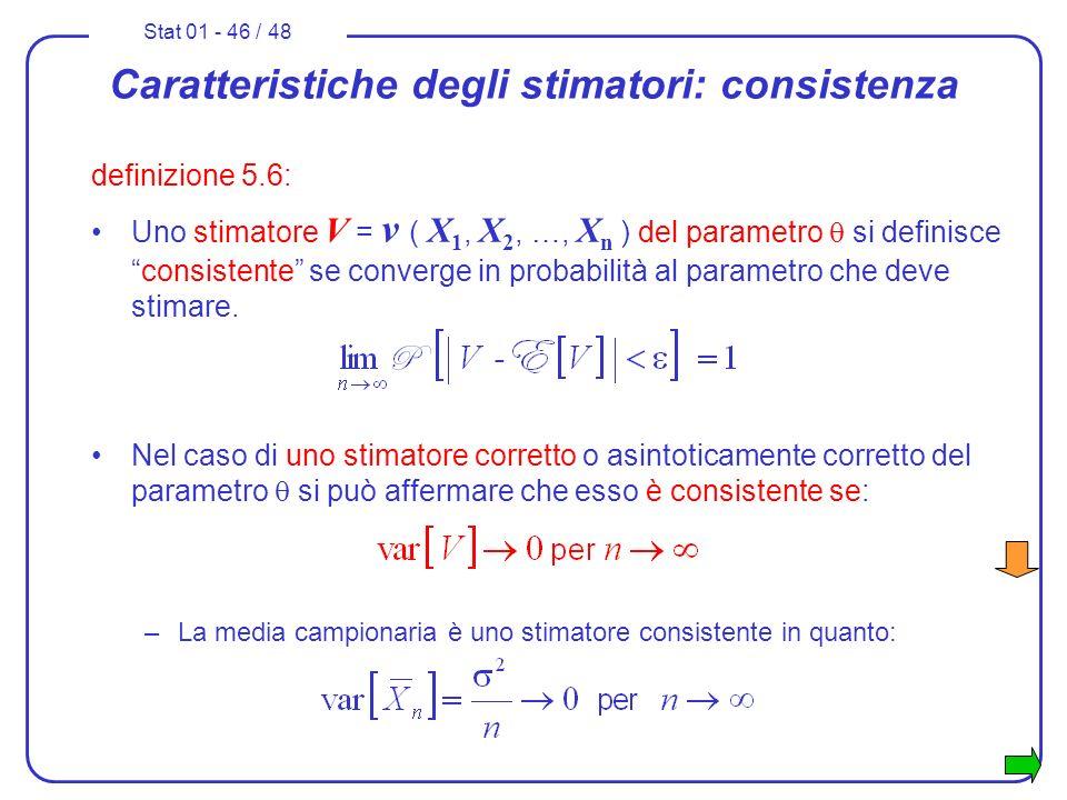 Caratteristiche degli stimatori: consistenza