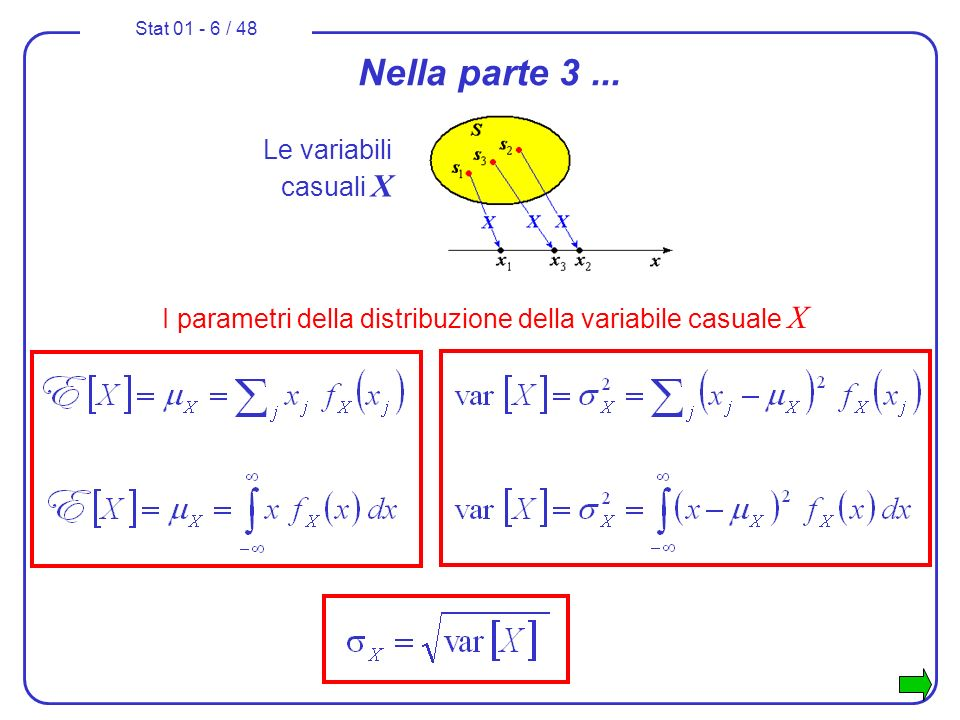 I parametri della distribuzione della variabile casuale X