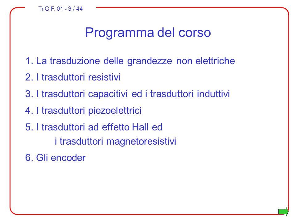 Programma del corso 1. La trasduzione delle grandezze non elettriche