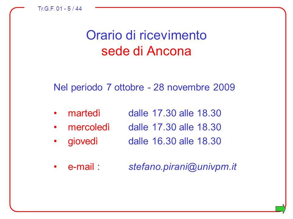 Orario di ricevimento sede di Ancona