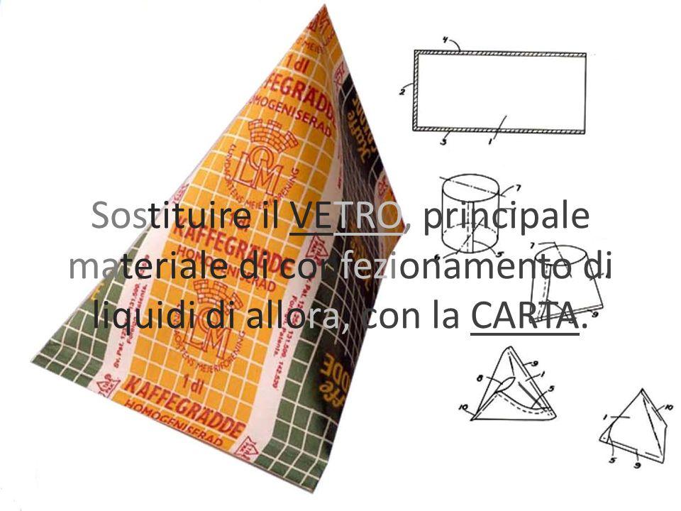 Sostituire il VETRO, principale materiale di confezionamento di liquidi di allora, con la CARTA.