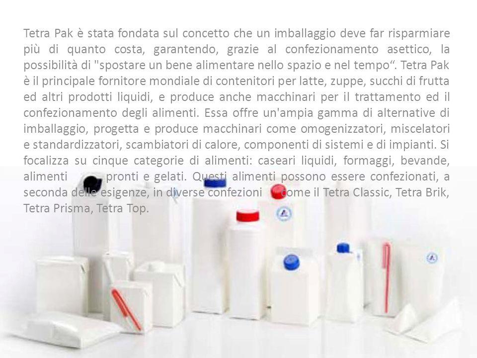 Tetra Pak è stata fondata sul concetto che un imballaggio deve far risparmiare più di quanto costa, garantendo, grazie al confezionamento asettico, la possibilità di spostare un bene alimentare nello spazio e nel tempo .