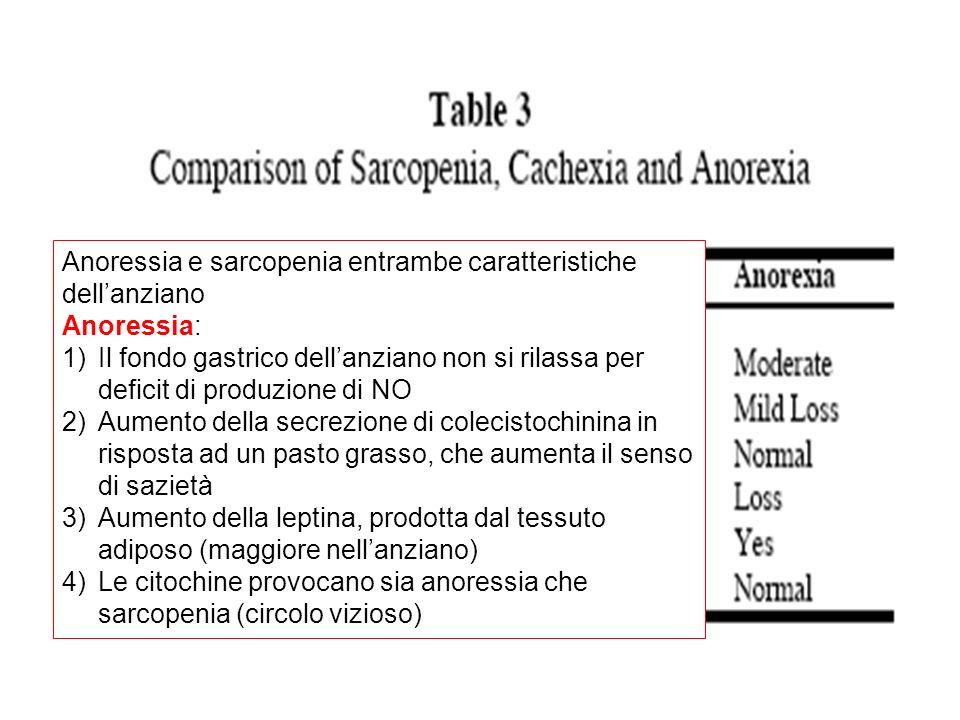 Anoressia e sarcopenia entrambe caratteristiche dell'anziano