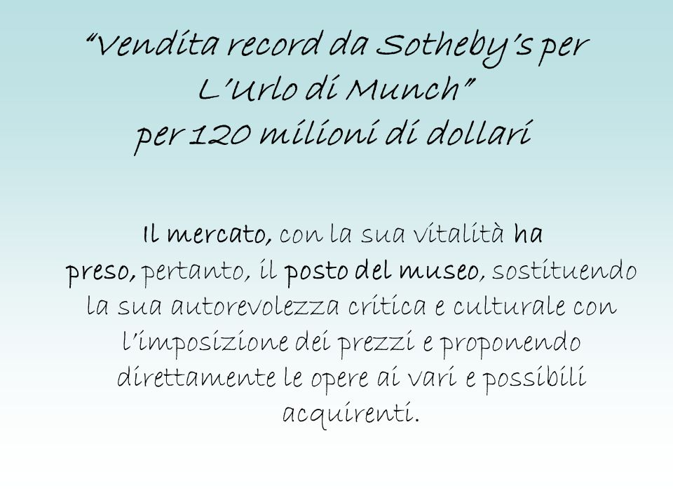Vendita record da Sotheby's per L'Urlo di Munch per 120 milioni di dollari