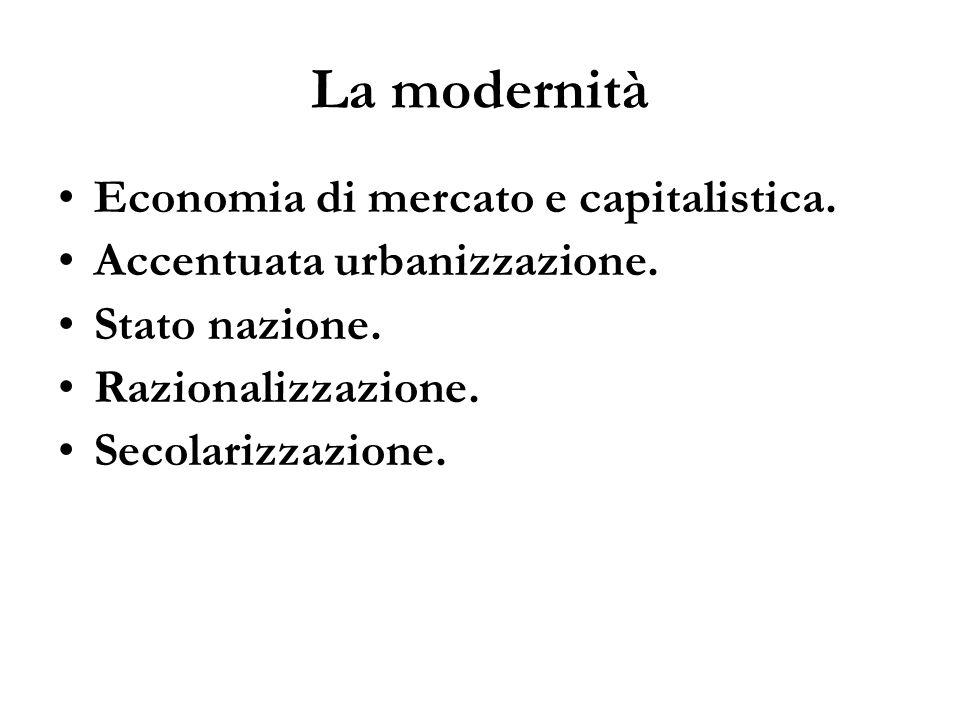 La modernità Economia di mercato e capitalistica.