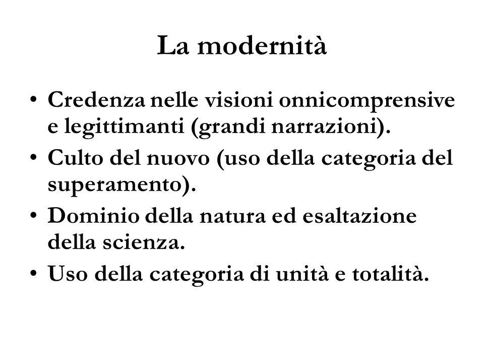 La modernità Credenza nelle visioni onnicomprensive e legittimanti (grandi narrazioni). Culto del nuovo (uso della categoria del superamento).